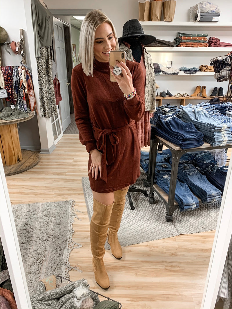 Tan Suede Knee-High Boot