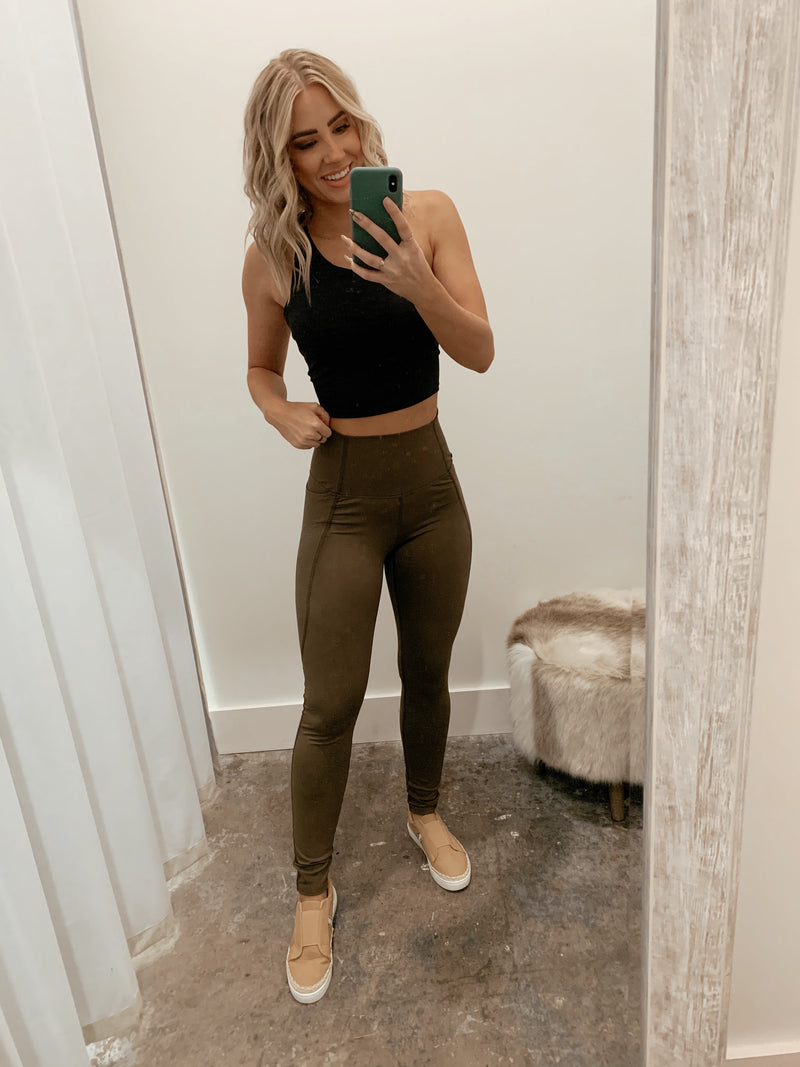 Cinched Waist Leggings Olive