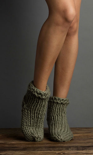 Cable Knit Ankle Slippers