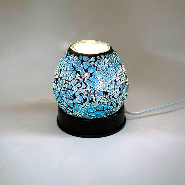 Electric Glass Oil/Tart Warmer - Blue Crackle