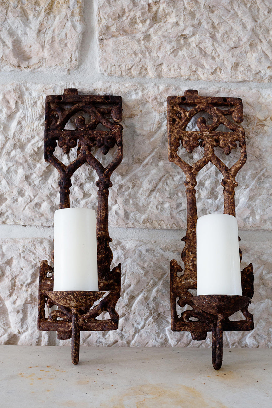 Pair of Iron balustrade candelabra
