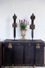 Load image into Gallery viewer, Vintage black steamer trunk