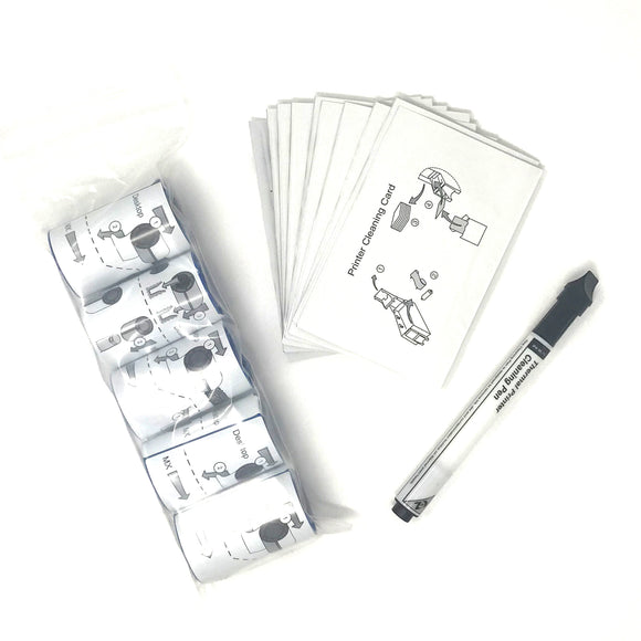 Photo ID Printer Combination Cleaning Kit - 1 Pen, 10 Cards, 5 Sleeves