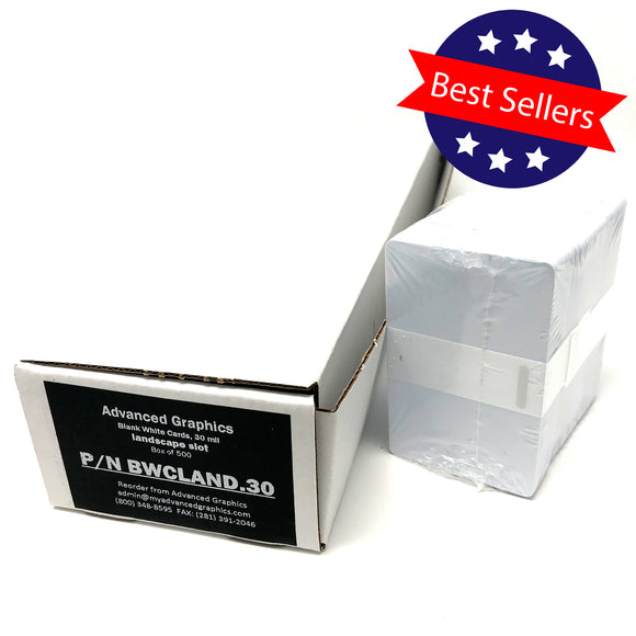 Blank White Cards - CR80 Graphics Quality - 30 mil - Landscape Punched (500pk)