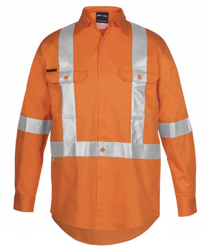 Hi Vis (D+N) L/S 150G Cross Back Tape Shirt - New Age Promotions