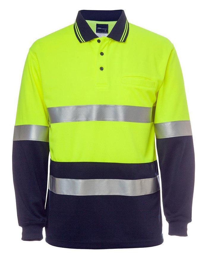 Hi Vis L/S (D+N) Cotton Back Polo