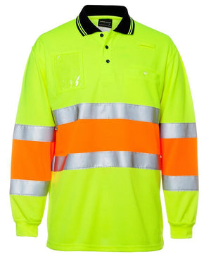 Hi Vis Bio Motion (D+N) L/S Polo with 3M Tape - New Age Promotions
