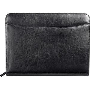 Renaissance Zippered Bonded Leather Padfolio - Black