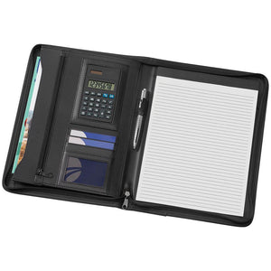 A4 Phoenix Zippered Compendium with Solar Calculator - New Age Promotions