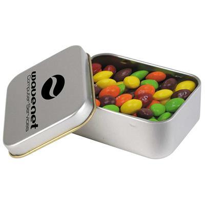 Assorted Fruit Skittles in Silver Rectangular Tin