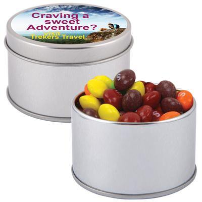 Assorted Fruit Skittles in Silver Round Tin - New Age Promotions