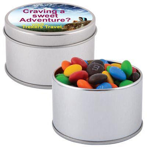 M&M's in Silver Round Tin