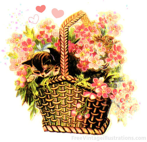 Artist depiction of a Victorian Era Wicker Flower Basket.