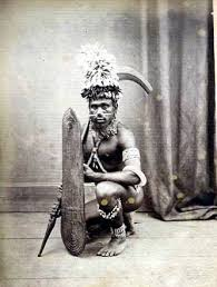 Solomon Warrior using a wicker shield. Wicker is still common among modern isolated tribes.
