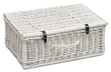 Beautifuly Painted Wicker Hamper Basket White Home & Garden vendor-unknown