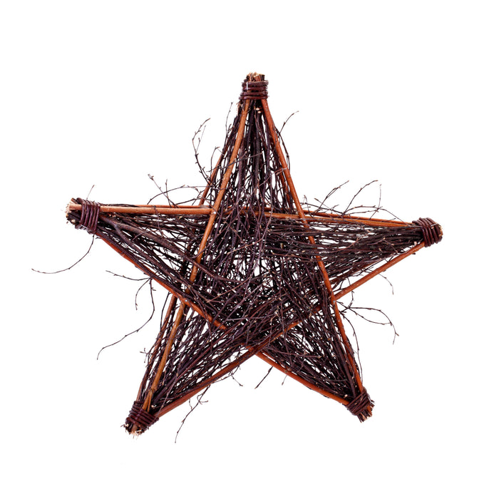 Dark Wicker Star Decoration Large and Medium Size Home & Garden Prestige Wicker Medium