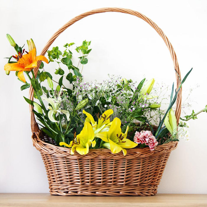 Flower Wicker Gift Basket with Handle Home & Garden Prestige Wicker