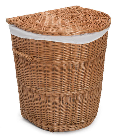 Half Round Laundry Wicker Basket Lined Home & Garden Prestige Wicker