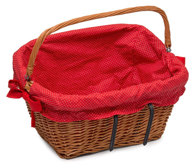 Large Bicycle Wicker Basket with Lining Home & Garden Prestige Wicker Red