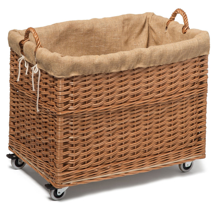 Large Wicker Storage Log Basket on Wheels, Lined Display & Catering Prestige Wicker