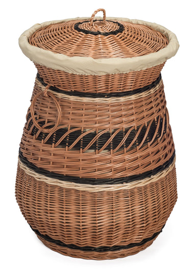 Round Laundry Wicker Basket Lined Home & Garden Prestige Wicker