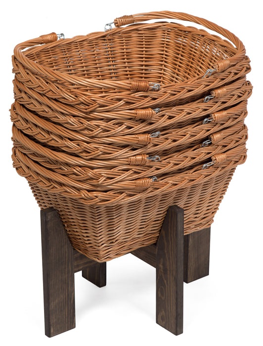 Set of 5 Shopping Baskets with Stand Display & Catering Prestige Wicker