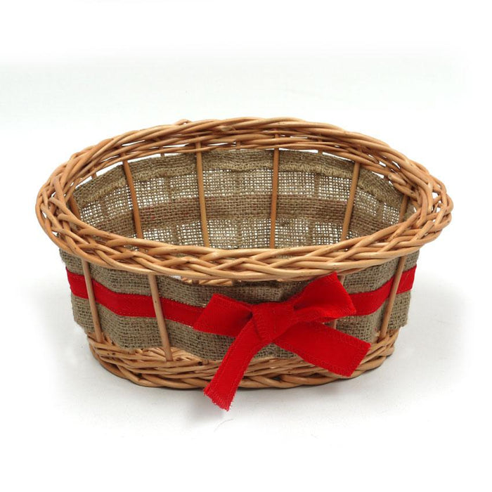 Small Wicker Basket with Ribbon Display & Catering Prestige Wicker