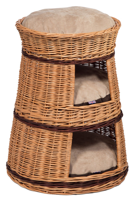 Three Tier Wicker Cat House Basket with cushions Pets Prestige Wicker
