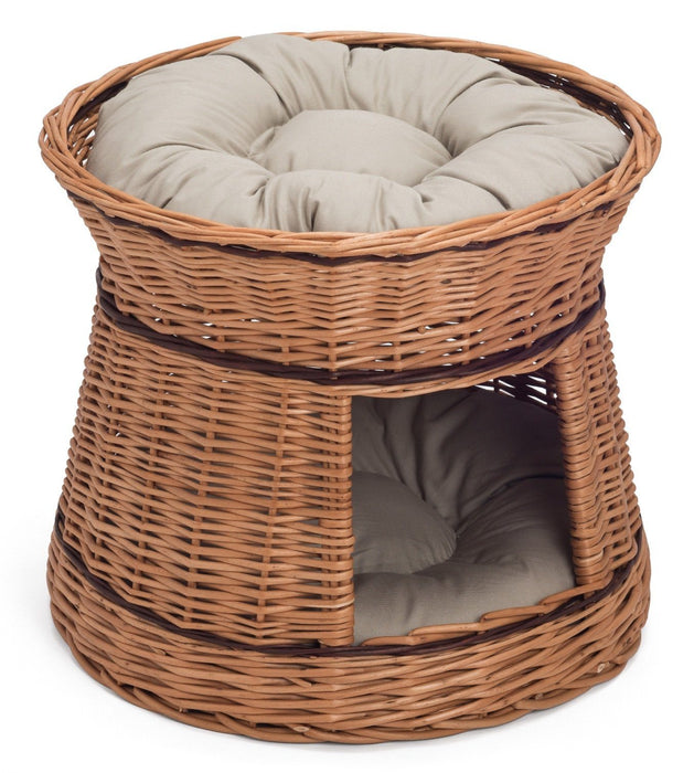 Two Tier Wicker Cat House Basket Pets Prestige Wicker