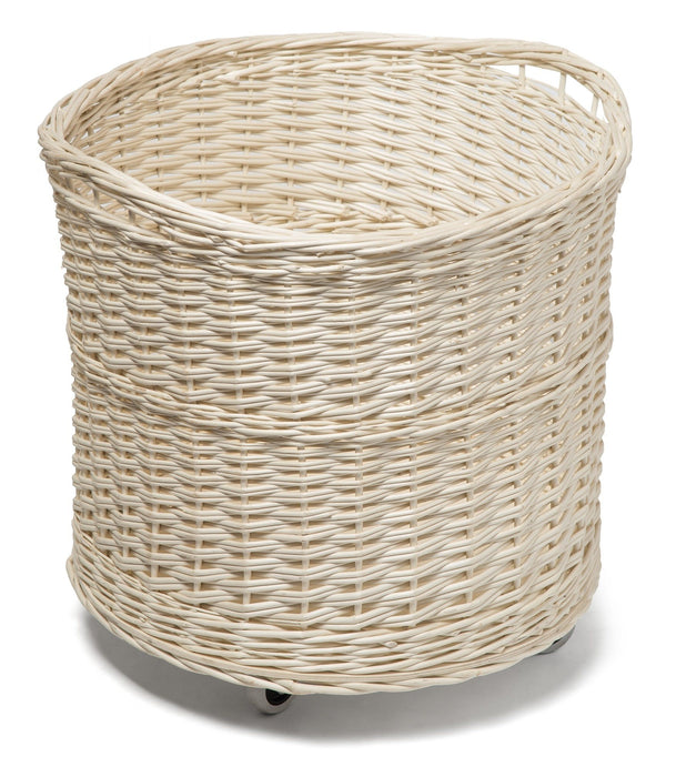 White Wicker Storage Display Basket on Wheels Display & Catering Prestige Wicker