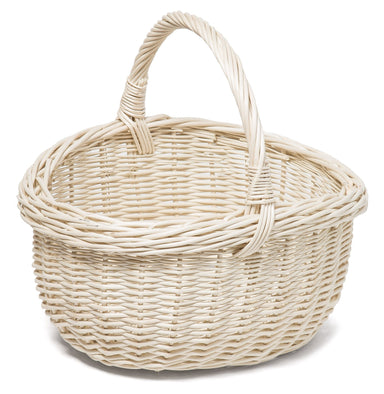 Wicker Basket with Handle White Home & Garden Prestige Wicker