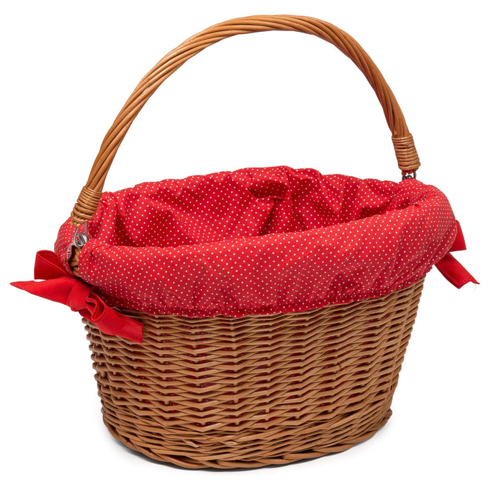 Wicker Bicycle Basket with cute Lining Home & Garden Prestige Wicker