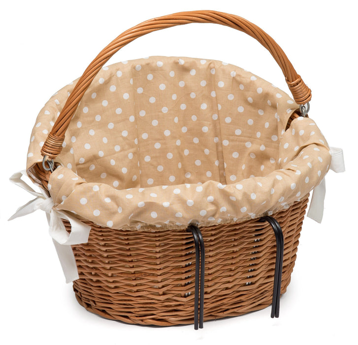 Wicker Bicycle Basket with cute Lining Home & Garden Prestige Wicker Red