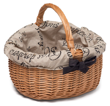Wicker Carry Basket Lined variety of colours Home & Garden Prestige Wicker grey
