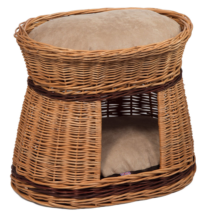 Wicker Cat House Bed with Cushions Pets Prestige Wicker
