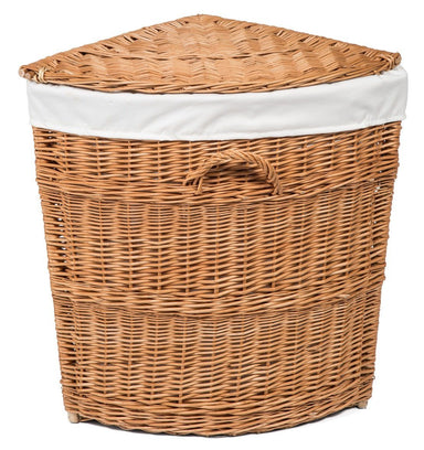 Wicker Corner Laundry Basket Lined Home & Garden Prestige Wicker
