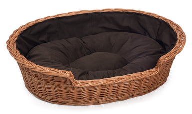 Wicker Dog Basket Dark Cushion Pets Prestige Wicker Medium