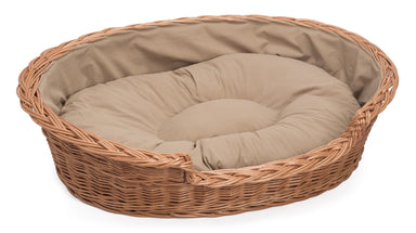 Wicker Dog Basket Light Colour Cushion Pets Prestige Wicker