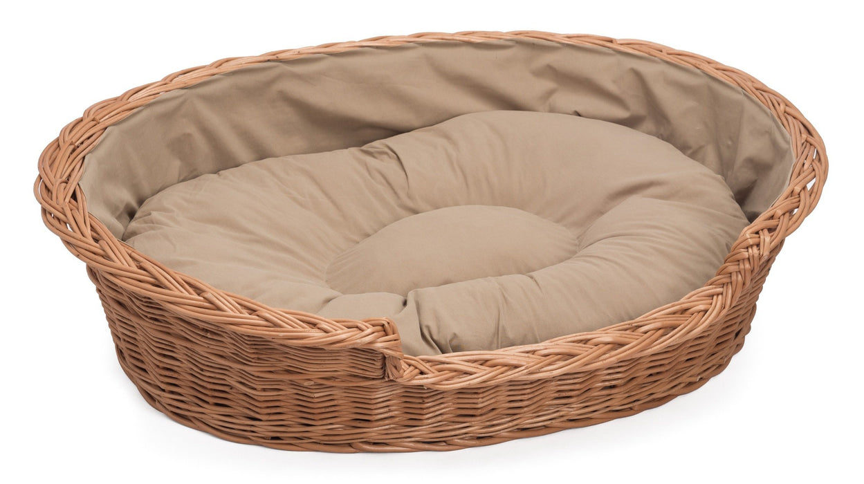 Wicker Dog Basket Light Colour Cushion Pets Prestige Wicker Extra/Large