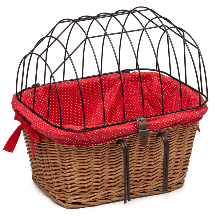 Wicker Pet Carrier for Bicycle with Lining Pets Prestige Wicker Red