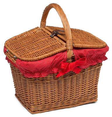 Wicker Picnic Hamper Basket lined Home & Garden Prestige Wicker blue