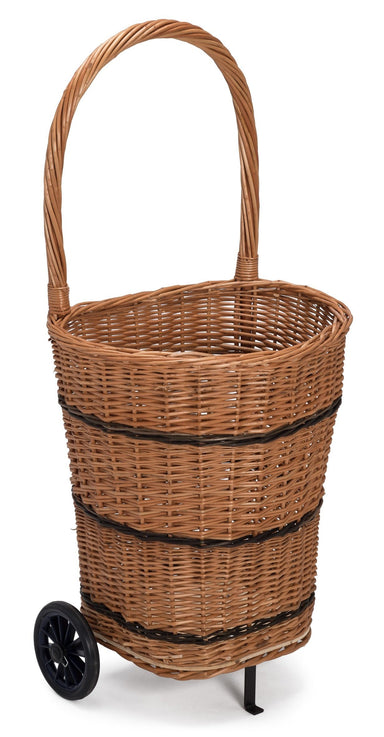 Wicker Trolley Basket Shopping/Log Holder Home & Garden Prestige Wicker