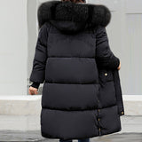 Woman Winter Elegáns Faux Fur Nyakörv