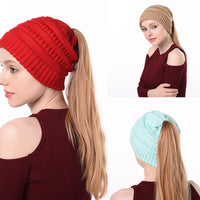 Woman Autumn And Winter Woolen Hat Warm Hat Cap Outdoor Cap Knitted Ponytail Cap