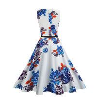 Női Retro Nyomás Dress Incloud Öv Vintage Dress