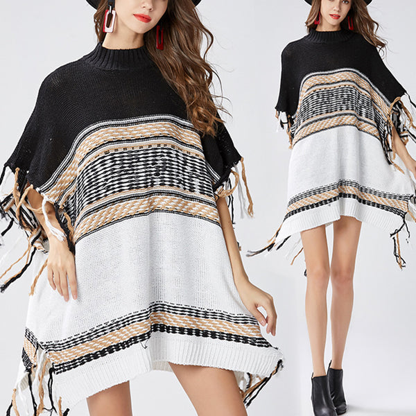Autumn Winter High Collar Striped Sweater Tassels Irregular Cloak