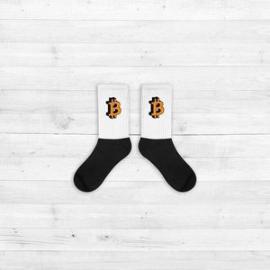 Socks - Bitcoin white - Crypto merchandise gift idea