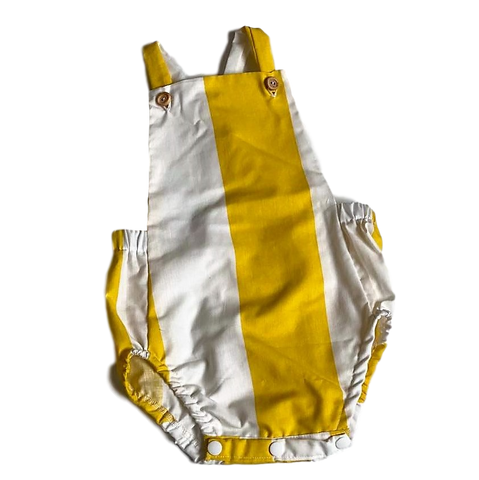 HANDMADE RANGE; Bailey Romper- Yellow/white Stripe