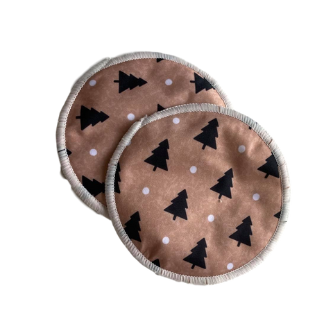 Washable Breast Pads- Brown trees