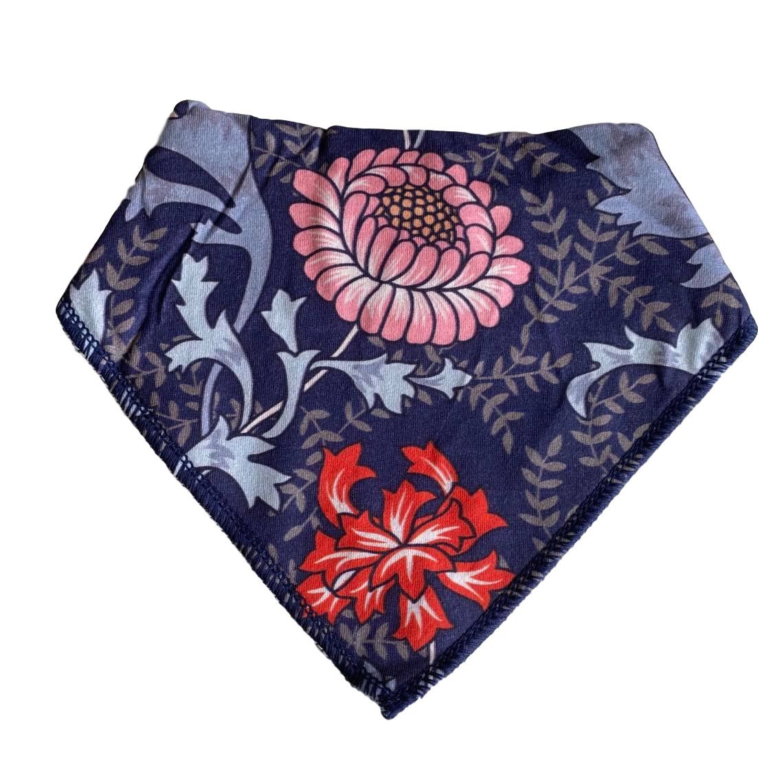 Bandana Bib- flowers on navy